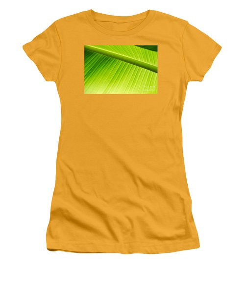 Women's T-Shirt (Junior Cut) featuring the painting Palm Leaf Background by Yurix Sardinelly