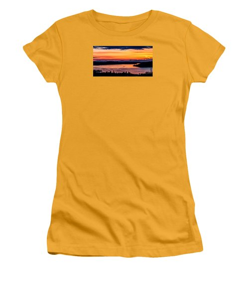 Panoramic Sunset Over Hail Passage E Series On The Puget Sound Women's T-Shirt (Athletic Fit)