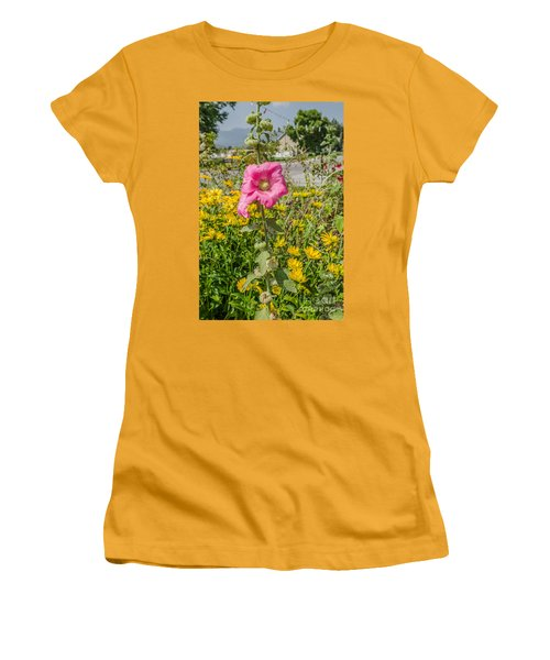 Women's T-Shirt (Athletic Fit) featuring the photograph Perfect Pink Hollyhocks by Sue Smith