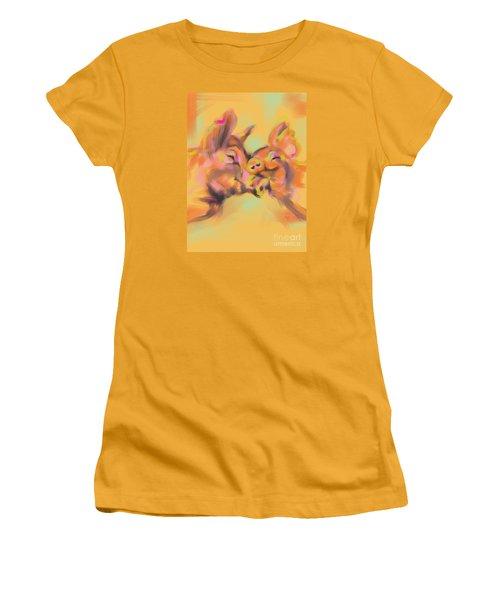 Women's T-Shirt (Junior Cut) featuring the painting Piggy Love by Go Van Kampen