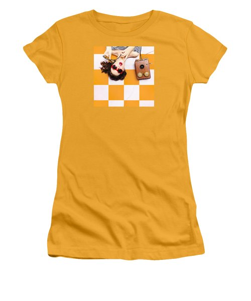 Women's T-Shirt (Athletic Fit) featuring the photograph Pin-up Beauty Decision Making On Old Phone by Jorgo Photography - Wall Art Gallery