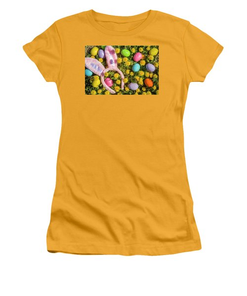 Women's T-Shirt (Junior Cut) featuring the photograph Pink Easter Bunny Ears by Teri Virbickis