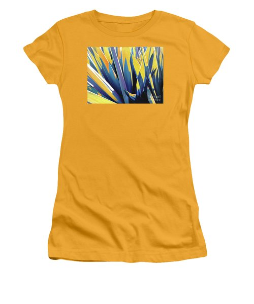 Women's T-Shirt (Athletic Fit) featuring the photograph Plant Burst - Yellow by Rebecca Harman