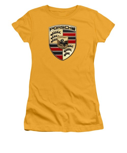 Porsche - 3d Badge On Yellow Women's T-Shirt (Junior Cut) by Serge Averbukh