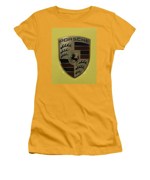 Porsche Emblem On Racing Yellow Women's T-Shirt (Athletic Fit)