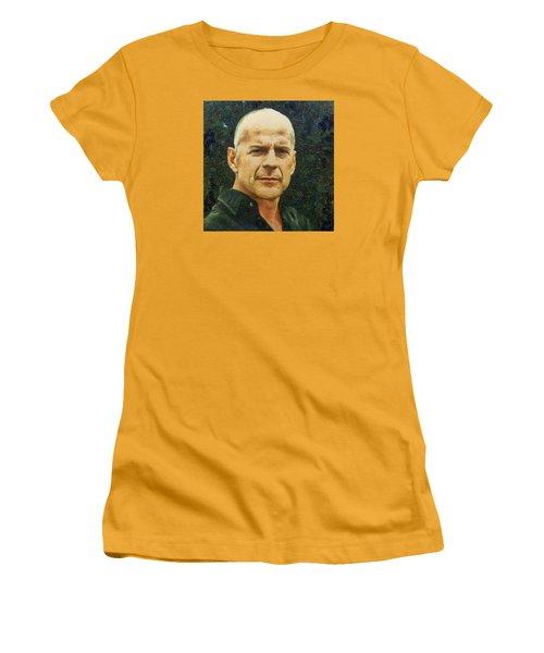 Women's T-Shirt (Junior Cut) featuring the digital art Portrait Of Bruce Willis by Charmaine Zoe