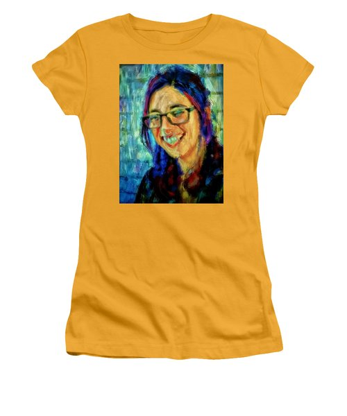 Portrait Painting In Acrylic Paint Of A Young Fresh Girl With Colorful Hair In A Library With Books  Women's T-Shirt (Athletic Fit)