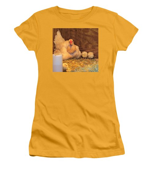 Women's T-Shirt (Junior Cut) featuring the photograph Proud Mother Hen by Jeanette Oberholtzer