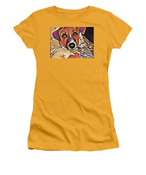 Puppy Eyes Women's T-Shirt (Athletic Fit)
