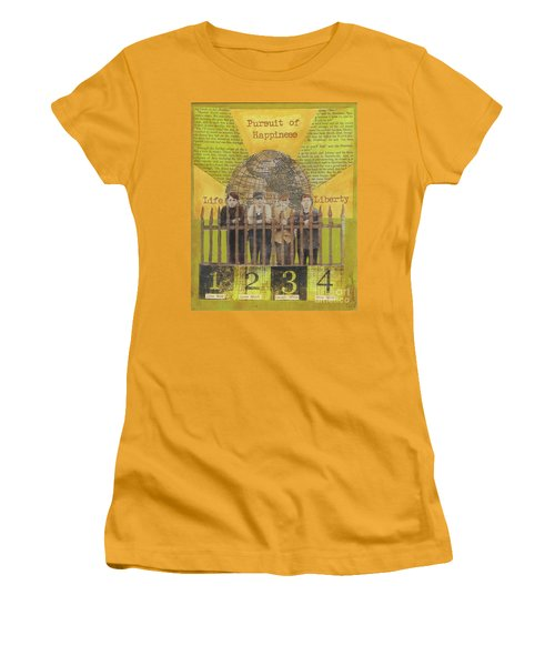 Women's T-Shirt (Junior Cut) featuring the mixed media Pursuit Of Happiness by Desiree Paquette
