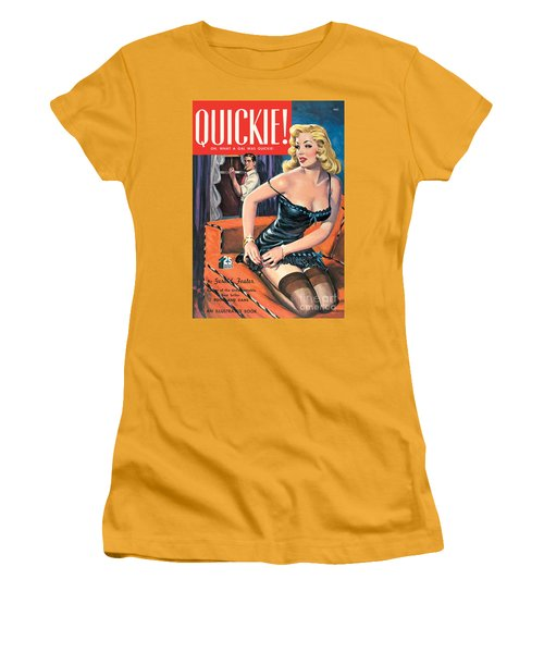 Women's T-Shirt (Junior Cut) featuring the painting Quickie by George Gross