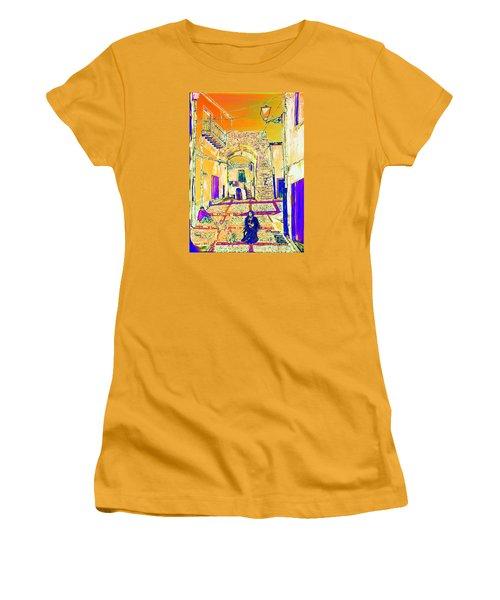 Women's T-Shirt (Junior Cut) featuring the painting Rabato  by Loredana Messina