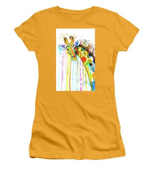 Women's T-Shirt (Athletic Fit) featuring the painting Rainbow Giraffe by Zaira Dzhaubaeva