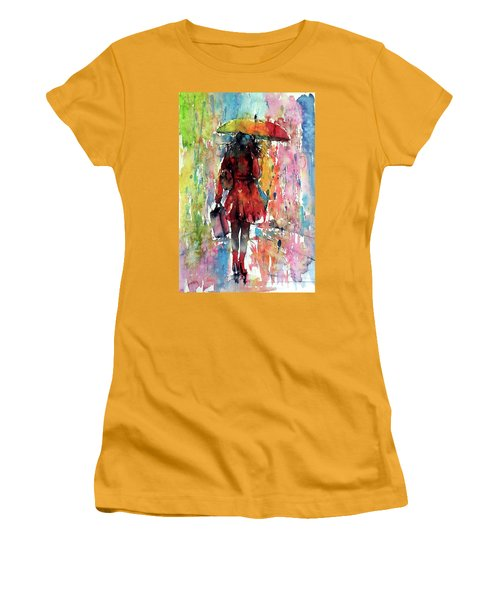 Women's T-Shirt (Junior Cut) featuring the painting Rainy Day by Kovacs Anna Brigitta