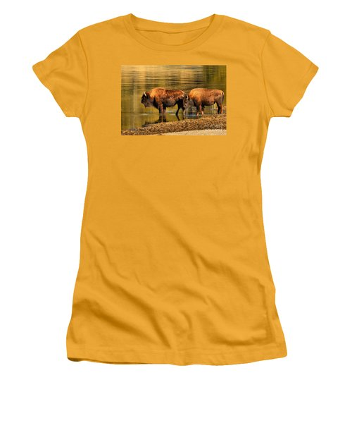 Women's T-Shirt (Junior Cut) featuring the photograph Ready To Cross The Yellowstone by Adam Jewell