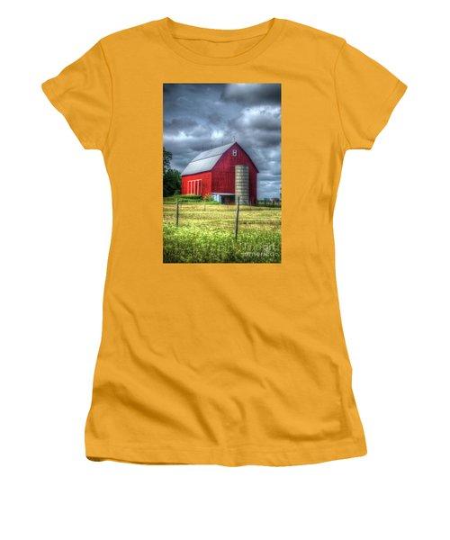 Women's T-Shirt (Junior Cut) featuring the photograph Red Barn by Randy Pollard