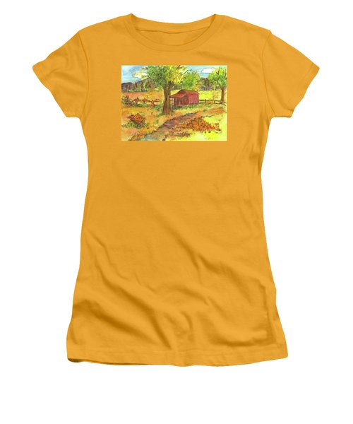 Women's T-Shirt (Junior Cut) featuring the painting Red Cabin In Autumn  by Cathie Richardson
