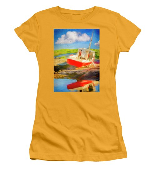 Red Fishing Boat Women's T-Shirt (Athletic Fit)