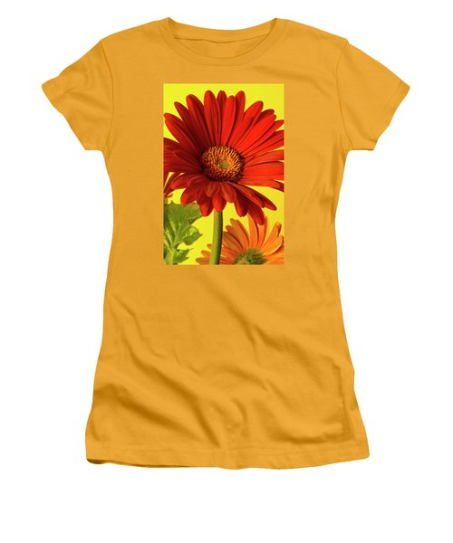 Women's T-Shirt (Junior Cut) featuring the photograph Red Gerbera Daisy 2 by Richard Rizzo