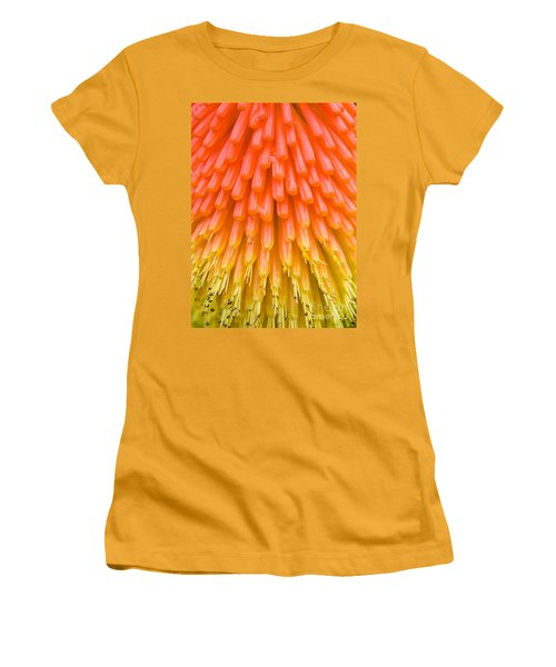 Red Hot Poker Flower Close Up Women's T-Shirt (Junior Cut) by Colin Rayner