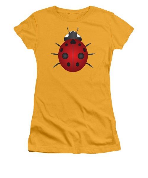 Red Ladybug Color Illustration Women's T-Shirt (Athletic Fit)