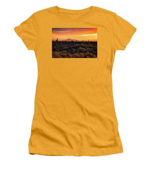 Women's T-Shirt (Junior Cut) featuring the photograph Red Mountain Sunset Part Two  by Saija Lehtonen