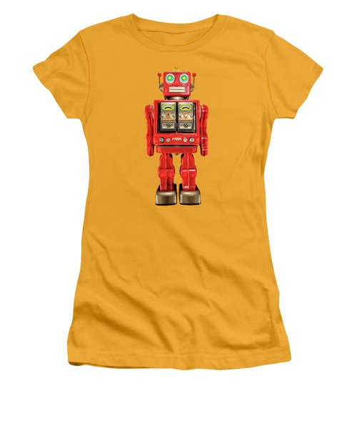 Women's T-Shirt (Junior Cut) featuring the photograph Red Tin Toy Robot Pattern by YoPedro