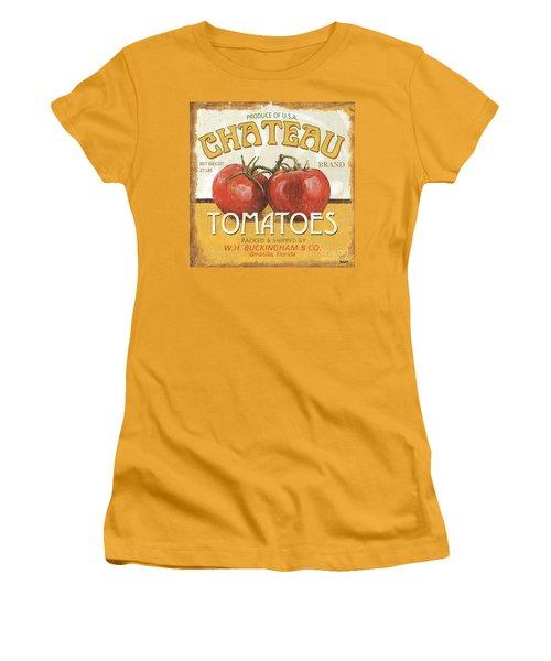 Retro Veggie Labels 4 Women's T-Shirt (Junior Cut) by Debbie DeWitt
