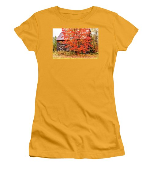 Women's T-Shirt (Athletic Fit) featuring the photograph Rustic Barn In Fall Colors by Jeff Folger