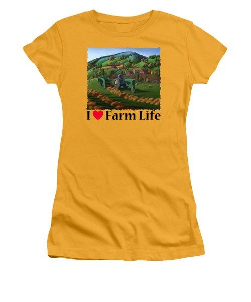 Rustic John Deere Farm Tractor Baling Hay - Rural Country Folk Art Landscape - Summer Americana Women's T-Shirt (Athletic Fit)
