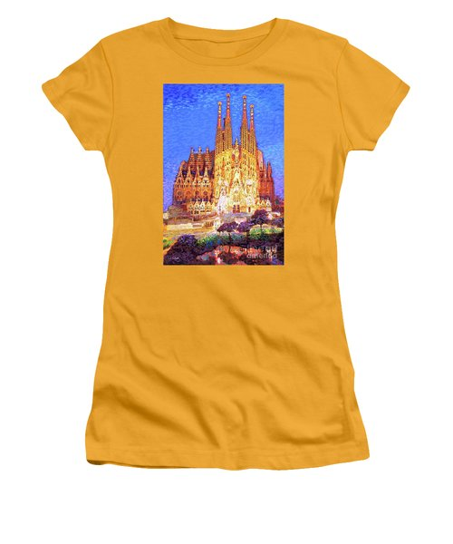 Women's T-Shirt (Junior Cut) featuring the painting Sagrada Familia At Night by Jane Small
