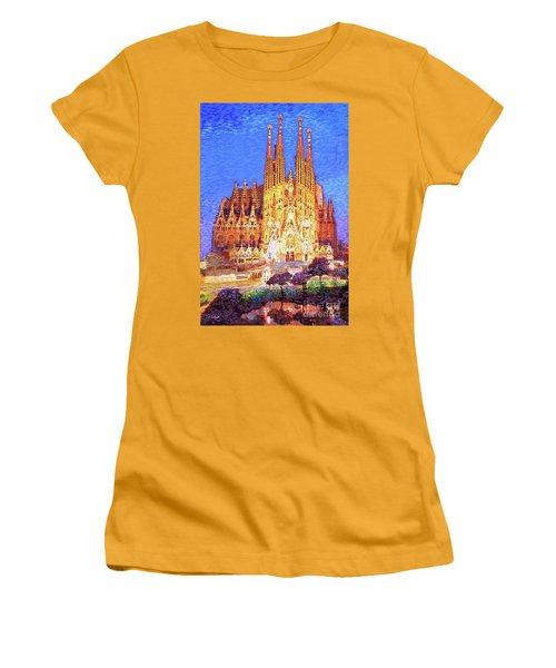 Sagrada Familia At Night Women's T-Shirt (Athletic Fit)