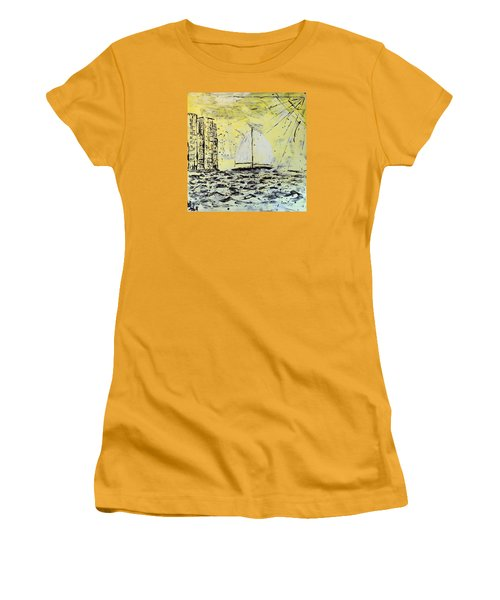 Women's T-Shirt (Junior Cut) featuring the painting Sail And Sunrays by J R Seymour
