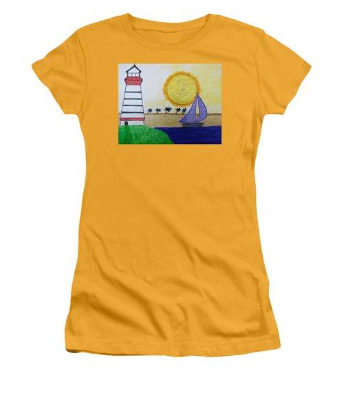 Sail Boat With Purple Sails Women's T-Shirt (Junior Cut)