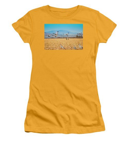 Sandhill Cranes In Flight Women's T-Shirt (Athletic Fit)