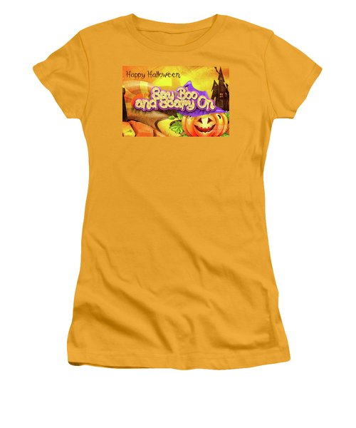 Women's T-Shirt (Junior Cut) featuring the digital art Scary On by Mo T