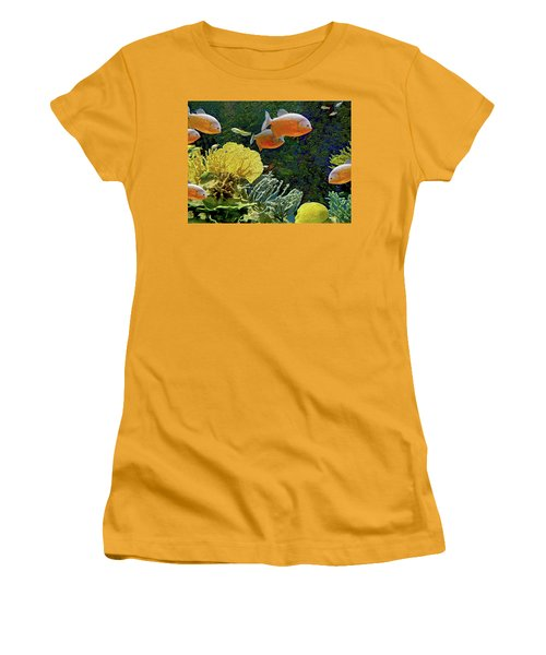Women's T-Shirt (Athletic Fit) featuring the mixed media Scenic Waters by Lynda Lehmann