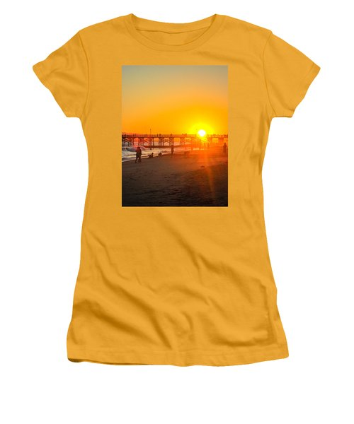 Seal Beach Pier Sunset Women's T-Shirt (Athletic Fit)