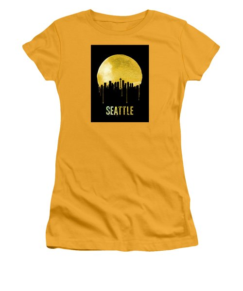 Seattle Skyline Yellow Women's T-Shirt (Junior Cut) by Naxart Studio