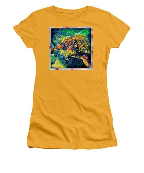 Women's T-Shirt (Junior Cut) featuring the digital art Sebastian The Turtle by Erika Swartzkopf