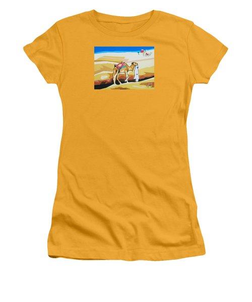 Women's T-Shirt (Junior Cut) featuring the painting Sharing The Journey by Ragunath Venkatraman