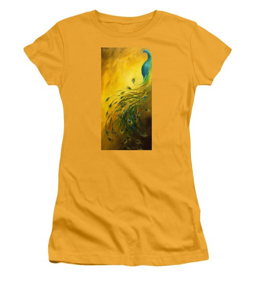Show Off 1 Vertical Peacock Women's T-Shirt (Junior Cut) by Dina Dargo