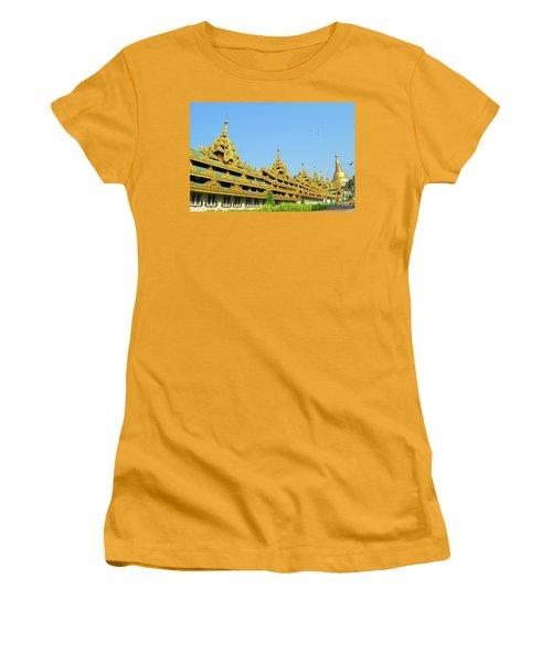 Women's T-Shirt (Junior Cut) featuring the digital art Shwedagon Pagoda 2 by Eva Kaufman