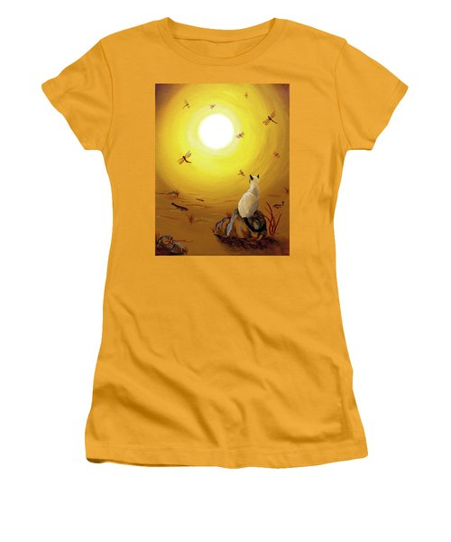 Siamese Cat With Red Dragonflies Women's T-Shirt (Junior Cut) by Laura Iverson