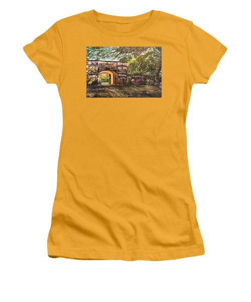 Women's T-Shirt (Junior Cut) featuring the painting Silence Is Golden by Belinda Low
