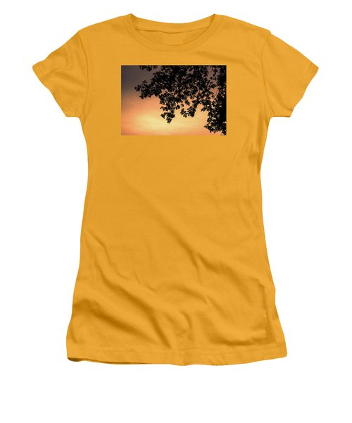 Women's T-Shirt (Junior Cut) featuring the photograph Silhouette Tree In The Dawn Sky by Jingjits Photography