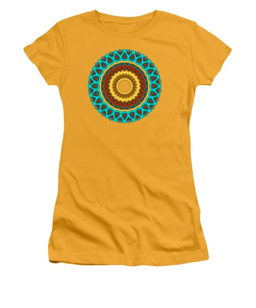 Southwestern Peacock Fractal Mandala Women's T-Shirt (Athletic Fit)