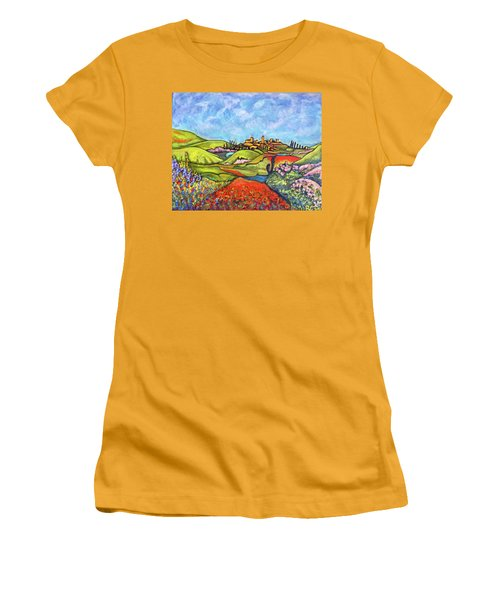 Women's T-Shirt (Junior Cut) featuring the painting Spring Breeze by Rae Chichilnitsky