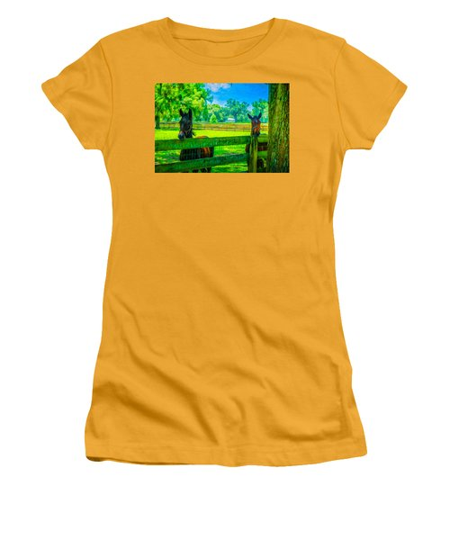 Women's T-Shirt (Junior Cut) featuring the painting Spring Colts by Louis Ferreira
