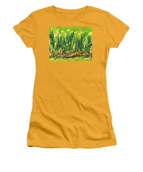 Women's T-Shirt (Junior Cut) featuring the painting Spring Garden by Holly Carmichael